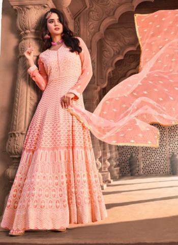Pink Viscose Wedding Wear Embroidery Work Readymade Anarkali Suit
