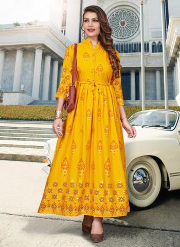 Yellow Rayon Casual Wear Foil Printed Kurti