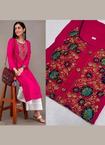 Rani Cotton Daily Wear Embroidery Work Kurti With Palazzo