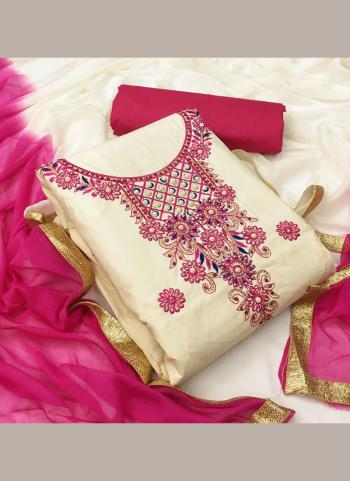 Rani And Cream Cotton Casual Wear Embroidery Work Salwar Suit