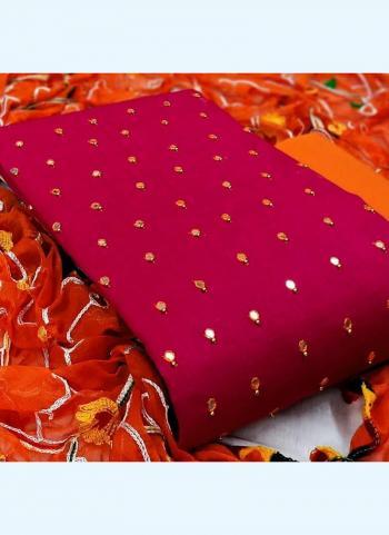 Rani Slub Cotton Festival Wear Mirror Work Salwar Suit