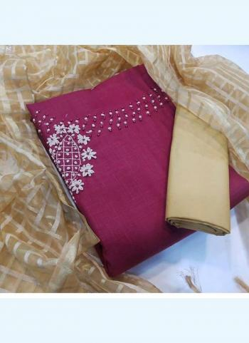 Rani Cotton Slub Traditional Wear Hand Work Salwar Suit