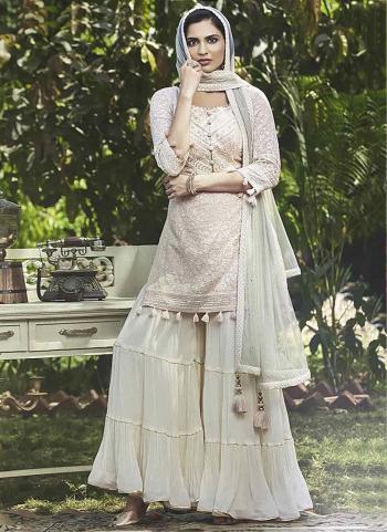 Cream  Fancy Party Wear Hand Work Sharara Suit