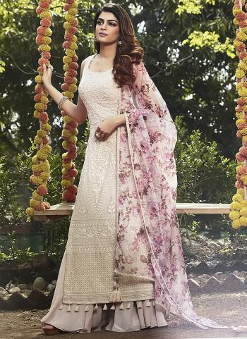 Off White Fancy Party Wear Hand Work Palazzo Suit