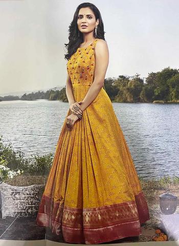 Yellow Fancy Party Wear Hand Work Anarkali Suit