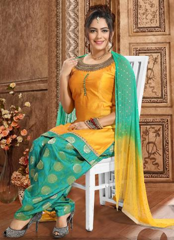 yellow Chanderi Festival Wear Hand Work Readymade Patiyala Suit