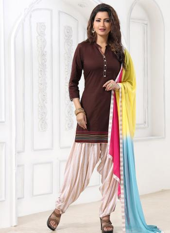 Brown Cotton Festival Wear Katha Work Readymade Patiyala Suit