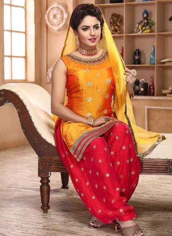 Golden And Red Satin Silk Festival Wear Hand Work Readymade Patiyala Suit