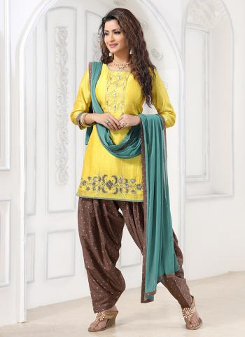 Lemon Yellow Art Silk Festival Wear Hand Work Readymade Patiyala Suit