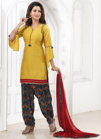 Mustard Cotton Festival Wear Katha Work Readymade Patiyala Suit