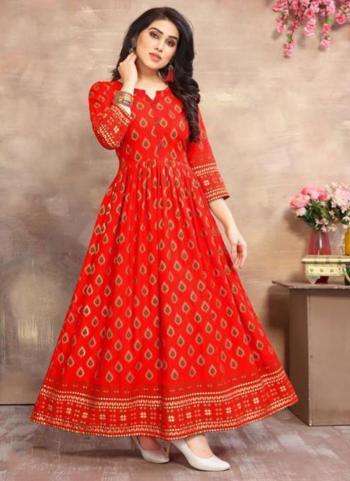 Red Rayon Casual Wear Foil Printed Long Kurti