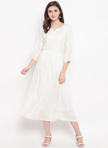 White Cotton Daily Wear Printed Work Kurti
