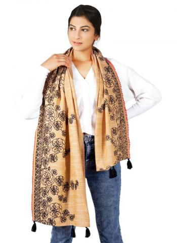 Beige Cotton Khadi Casual Wear Embroidery Work Dupatta