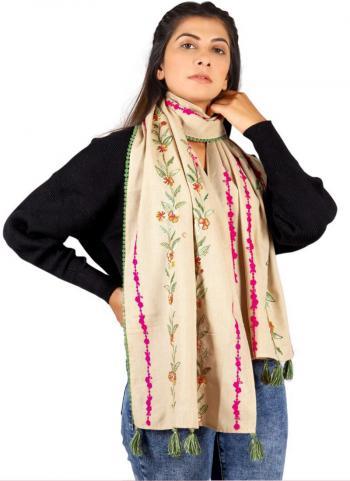 Beige Khadi Cotton Casual Wear Embroidery Work Dupatta