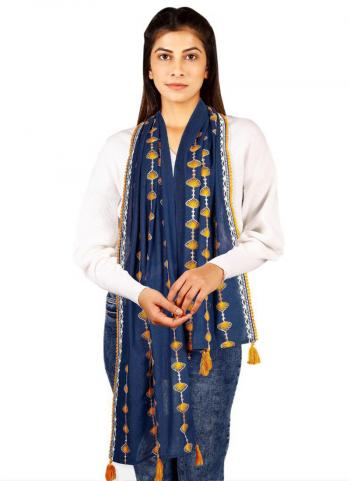 Navy Blue Khadi Cotton Casual Wear Embroidery Work Dupatta