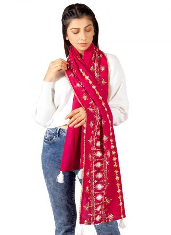 Rani Khadi Cotton Casual Wear Embroidery Work Dupatta