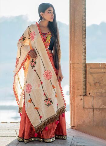Cream Cotton Khadi Casual Wear Embroidery Work Dupatta