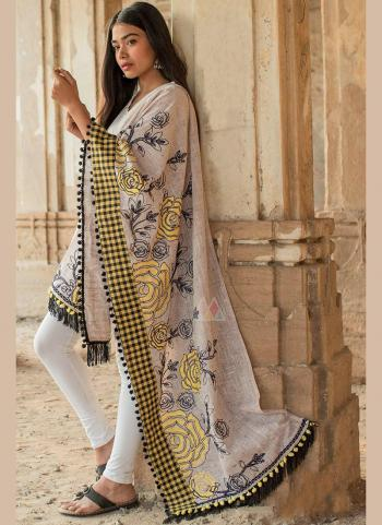 Light Grey Cotton Khadi Casual Wear Embroidery Work Dupatta