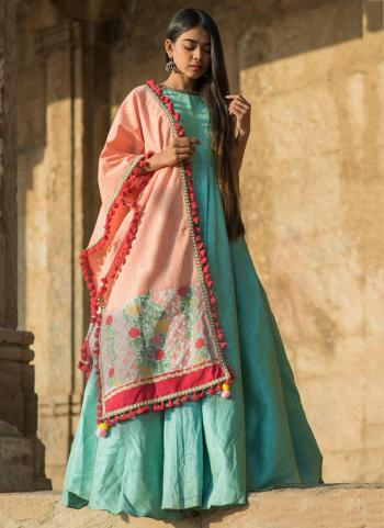Light Pink Cotton Khadi Casual Wear Embroidery Work Dupatta