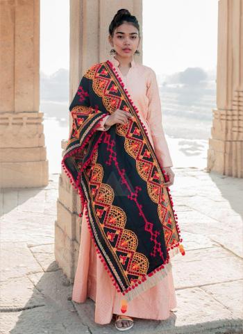 Navy Blue Cotton Khadi Casual Wear Embroidery Work Dupatta