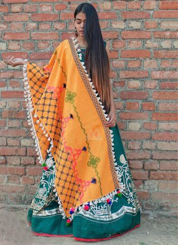 Peach Cotton Khadi Casual Wear Embroidery Work Dupatta