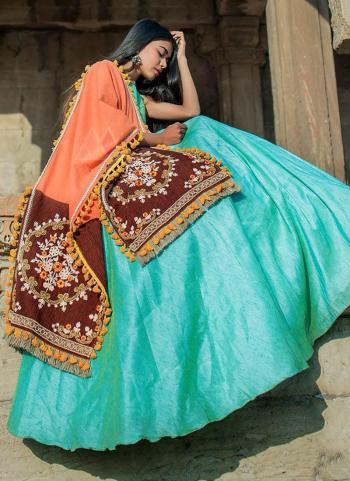 Peach Khadi Cotton Casual Wear Embroidery Work Dupatta