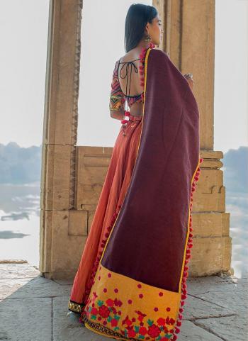 Wine Cotton Khadi Casual Wear Embroidery Work Dupatta