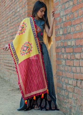 Yellow Cotton Khadi Casual Wear Embroidery Work Dupatta