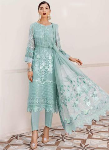 Blue Georgette Wedding Wear Wedding Wear Embroidery Work Pakistani Suit