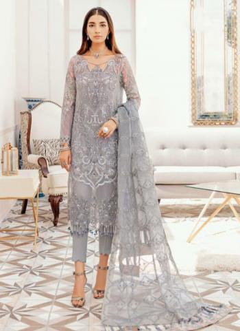 Grey Georgette Wedding Wear Wedding Wear Embroidery Work Pakistani Suit