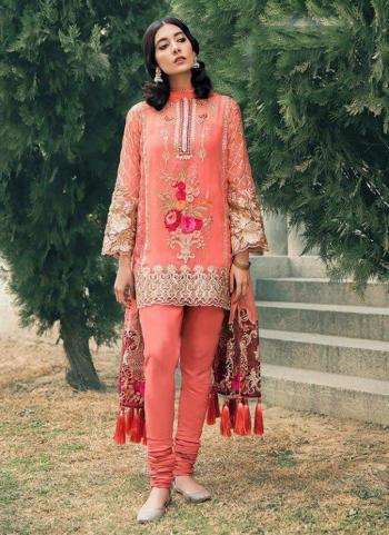 Pink Georgette Wedding Wear Wedding Wear Embroidery Work Pakistani Suit