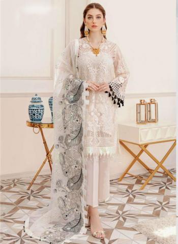 White Georgette Wedding Wear Wedding Wear Embroidery Work Pakistani Suit