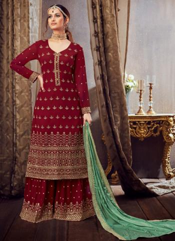 Maroon Pure Georgette Festival Wear Festival Wear Embroidery Work Sharara Suit