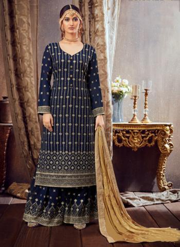 Navy Blue Pure Georgette Festival Wear Festival Wear Embroidery Work Sharara Suit