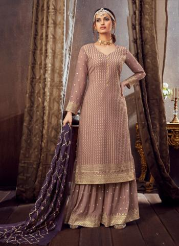 Pink Pure Georgette Festival Wear Festival Wear Embroidery Work Sharara Suit