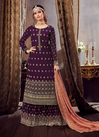 Purple Pure Georgette Festival Wear Festival Wear Embroidery Work Sharara Suit