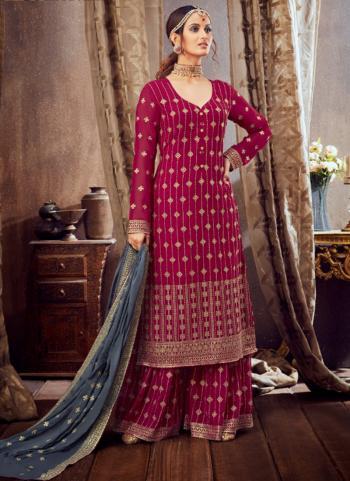 Rani Pure Georgette Festival Wear Festival Wear Embroidery Work Sharara Suit
