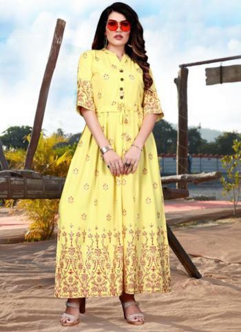 Yellow Rayon Casual Wear Foil Printed Work Long Kurti