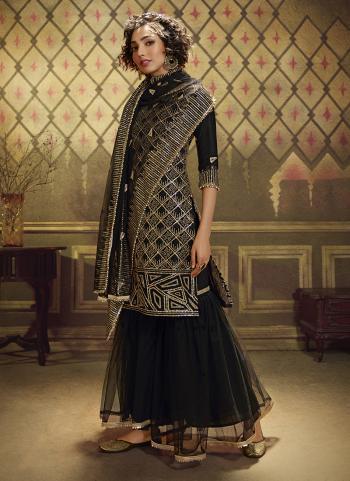 Black Soft Net Wedding Wear Sequins Work Sharara Suit