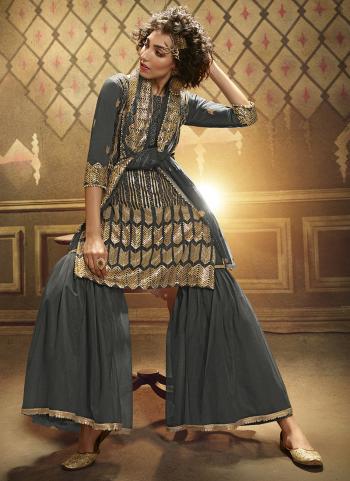 Grey Soft Net Wedding Wear Sequins Work Sharara Suit