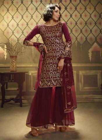 Maroon Soft Net Wedding Wear Sequins Work Sharara Suit