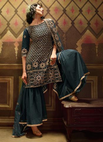 Rama Soft Net Wedding Wear Sequins Work Sharara Suit