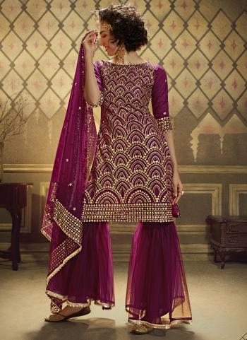 Wine Soft Net Wedding Wear Sequins Work Sharara Suit