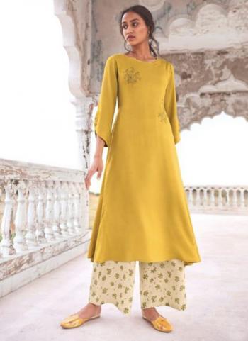 Yellow Modal Khadi Festival Wear Embroidery Work Kurti With Palazzo