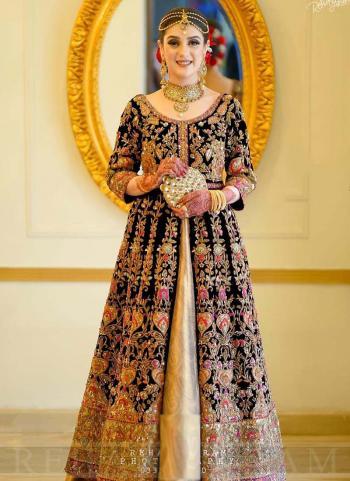 Black Velvet Bridal Wear Dori Embroidery Work Salwar Suit