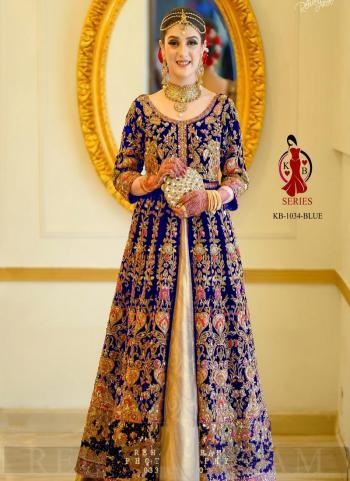Blue Velvet Bridal Wear Dori Embroidery Work Salwar Suit