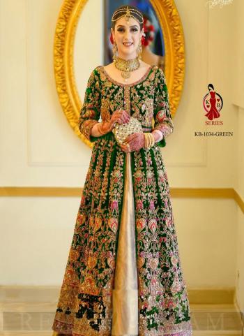 Green Velvet Bridal Wear Dori Embroidery Work Salwar Suit