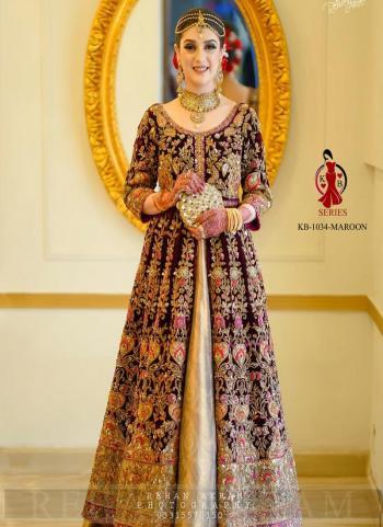 Maroon Velvet Bridal Wear Dori Embroidery Work Salwar Suit