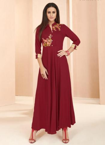 Red Rayon Casual Wear Embroidery Work Long Kurti