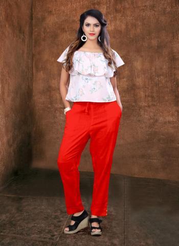 Red Cotton Slub Casual Wear Plain Pencil Pant